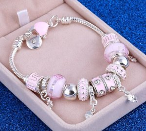 ZOSHIT Pink Crystal Charm Silver Color Bracelets & Bangles for Women WithMuranou Beads Silver Bracelet Femme Jewelry