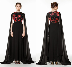 Atemberaubende schwarz mit roter Stickerei Mutter der Braut-Bräutigam-Cape-Kleid-A-Linie Juwel-Ausschnitt faltet lange Abend-Abschlussball-Kleider Günstige CPS1476