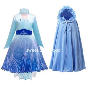 Nuovo vestito per ragazze Abbigliamento congelata 2 Principessa Set di Natale di Cosplay Birthday Party Blue Sky Princess Dress 3-12 Anno