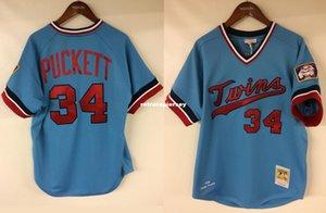 Cheap Kirby Puckett # 34 Minnesota Mitchell Ness 1984 Rookie Jersey Throwbacks Mens costurado camisola do basebol