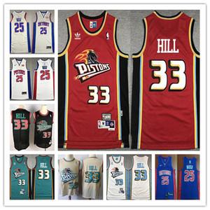 Ретро Ванкувер ДетройтPistonsDerrick Rose 25 Джерси Vintage Джерси 33 Grant Hill Mens Majestic Синий Белый Basketball трикотажных изделий