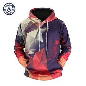 Color geometric printing lovers Hoodie Digital sweater Digital fashion brand hoodie rope 3D sweater