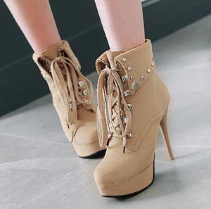 Pequeno grande tamanho 32 a 42 a 48 rebites colarinhos ankle boots de salto alto inverno add pelúcia 11 centímetros