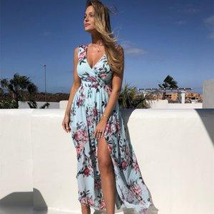 Women V Neck Split Dress Floral Print Long Summer Spaghetti Strap Party Pink Chiffon Elegant Casual Maxi Dresses Beach