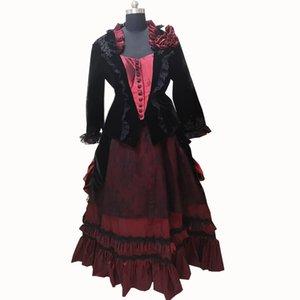 Nouveaux costumes rouges Vintage 18ème Rétro duchesse Renaissance Théâtre médiéval Reenactment robe victorienne de la guerre civile D-340