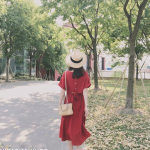 Ins Super Fuoco Gonna Bf Vento Collegio Gonna lunga Chic Red Super Xian First Love SUKOL Young Girl Summer Dress