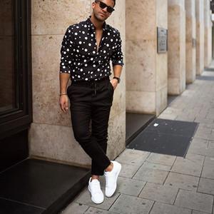KLV 2019 erkek gömlek streetwear gömlek Erkek Moda Gevşek Casual Uzun kollu Polka Dot Baskılı Bluz ücretsiz gönderim D4