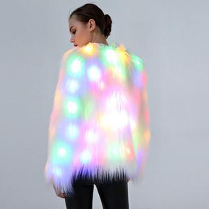 LED Show Luminoso Mulheres Faux Fur Outwear Inverno Light Up Burning Glow Fofo Sparking Rainbow Rainbow traje jaqueta