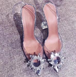 Hot Sale-Pedrinhas sapatos dos pés saltos altos Crystal Clear salto alto Slingback bombas salto da sandália