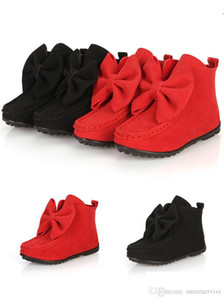 Hot sell children boots girls Bows leather boots kids short shoes children Xmas boots red black hot pink wine red A7149