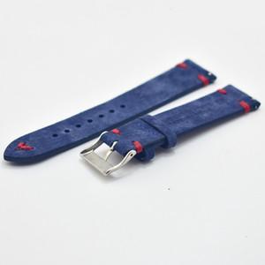 Homens Watch Band Genuine Suede couro Correias Vintage 18 milímetros 20 milímetros 22 milímetros 24 milímetros Assista acessórios de alta qualidade Azul watchbands KZSD13 Y191029