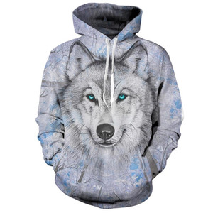 Lively Wolf Hoodies Streetwear Sudadera con capucha Casual Hombres 3D Pullover Harajuku Chándal Hombre HipHop DropShip