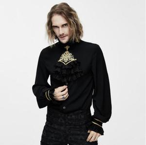 Мужские платья рубашки дьявола мода викторианский готический шелковый галстук рубашка стимпанк классический черный белый смокинг с кружевным воротником мужские блузки
