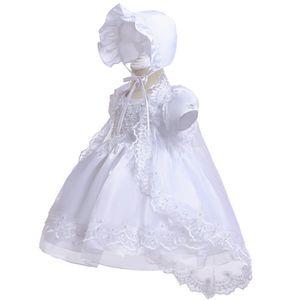 vestido de pura comida de la fiesta de cumpleaños santo bautismo primera fiesta de cumpleaños de la princesa vestido de la cola del bebé del bebé precioso blanco