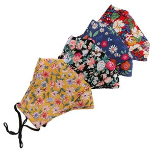 Floral Print Mask with Breathing Valve Cotton Breathable Mouth Masks PM2.5 Anti Dust Mask Reusable Protective Face Cover GGA3418
