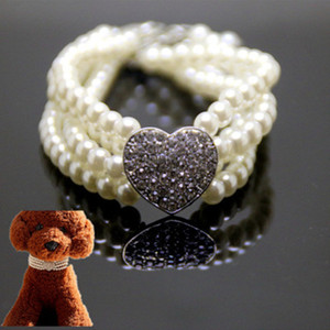 Coeur Perle Colliers Rose Bleu Blanc Multilayer Chat Collier de luxe imitation collier de perles pour chien Accessoires Promotion