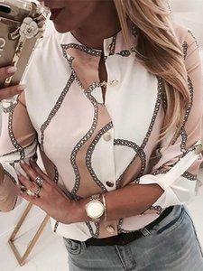 2020 Verão Mulheres New férias elegante Trending Lazer Blusa Feminino Botão Cadeia Escritório Top Print Através Camisa Casual