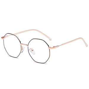 Hombres Vintage Anti Blue light Glasses Frame Round Women Lens Myopia Optical Mirror Simple Metal Anti-blue Clear Eyewear Frames