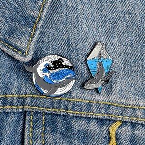 Pin отворотом океана кита Эмаль морских животных горбатых китов Deep Sea Wave мультфильм мешок ювелирных изделий Броши для подарков