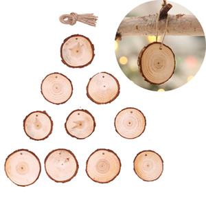 2020 10PCS عيد الميلاد زخرفة الخشب DIY الحرفية الصغيرة الدوائر أقراص الرسم جولة الصنوبر شرائح مع هول عيد الميلاد حزب زينة لوازم M828F