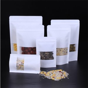 Kraft Paper Bags White Zipper Bag Stand Up Food Pouches Resealable Packaging with Matte Window Bags