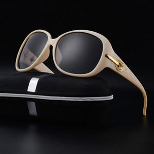 Nouveau luxe de la mode couleur crème étincelant diamant polarisant lunettes de soleil femmes preuve uv support 3d