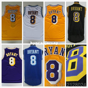 Barato K B Baloncesto Jersey cosido retro # 8 Bryant Baloncesto jerseys amarillo blanco púrpura azul del tamaño S-XXL NCAA