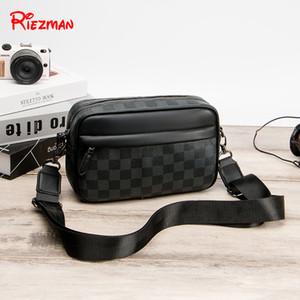 Riezman 2019 Мужская сумка на ремне, Мода Zipper Crossbody случайные сумки для мужчин Luxury Коммерческая пакет