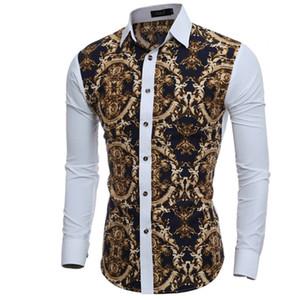 Мужская Рубашка 2020 Мужские Рубашки С Длинным Рукавом Повседневная Мужская Большая Модель Тела Печать Slim Fit Dress Рубашки Мужские Гавайские