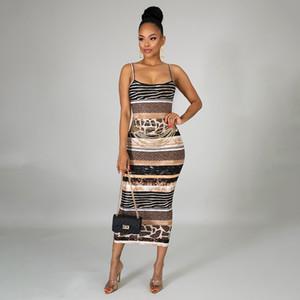 Para mujer de diseño de impresión Vestidos Backless atractivos correa de espagueti Vestidos casual con paneles Patrón sin mangas Vestidos Ropa para Mujer