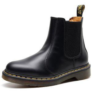 cuero nueva unisex de cuero de vaca invierno las botas del tobillo tobillo de los hombres de nieve botas de Martin bot masculino Autum los robots del ejército de los zapatos de los amantes de las botas