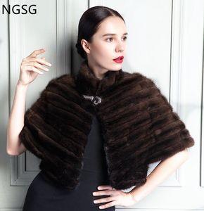 NGSG echten Nerz-Mantel-Mantel-Frauen-Winter-Kurz reale Pelz-Schal Bittet Sleeved Wrap Cape schwarze Streifen-Pelz-Kleidung Weiblich FQ13020-16