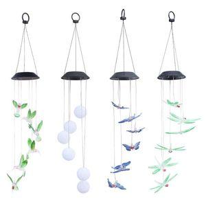 Droplight Mix И Match Solar Wind Chime Light Hummingbird Солнечного свет Подарок СИД цвет сад Висячего свет дом сад украшение LXL528