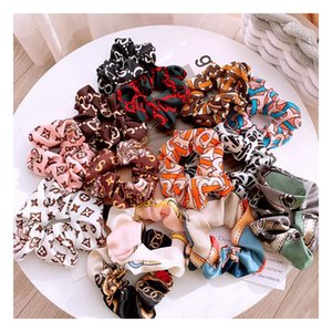 Luxury Lady girl Hair Scrunchy Ring Elastic Hair Bands Vintage simulation silk print Large intestine Sports Dance Scrunchie Hairband B354