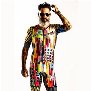 Ciclismo Skinsuit Triathlon Trisuit 2020 L'amore degli uomini Pain manica corta Speedsuit Running Uomo Corpo Suit