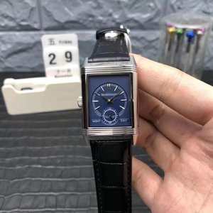 MG Lüks Reverso Tribute Erkek İzle Dikdörtgen mavi Dial İsviçre 854A / 2 Otomatik Hareket 28800vph Safir Kristal Siyah Dana derisi