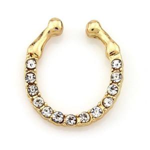 Crystal Piercing Nose Ring Fake Septum Medical Titanium Nose Rings Fake Piercing Body Hoop Clip Jewelry Christmas Gift