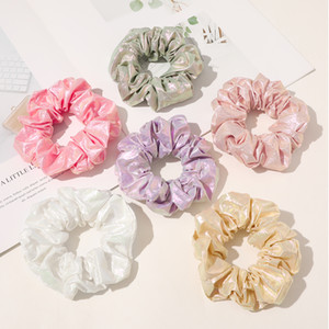 Cute Silky Bright Color Hair Scrunchies Women Scrunchie Elastic Hair Bands Girls Rubber Headwear Donut Grip Loop Ponytail Holder