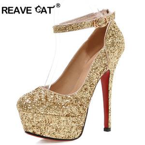 Reave CAT 13.5cm Stiletto Ultra-High Heels Glitter Hochzeit Pumpen-Plattform Knöchelriemen Schnalle Gold Silber Brautschuhe Partei US12