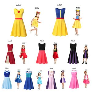 Maman et fille robe de princesse Ensembles fille adulte enfants d'été enfants Cartoon robes de princesse enfants Vêtements Casual Kid Trip Frocks Party DHL