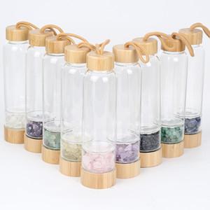 Doğal taş Kuvars Kristal Cam Su Şişesi Çakıl Düzensiz Taş Bambu şişe Noktası Değnek Şifa Ezilmiş taş fincan Sağlık fincan