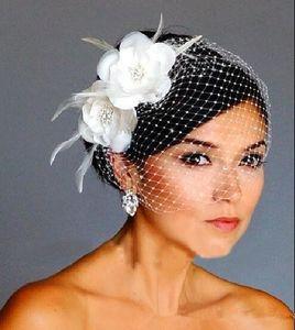 2020 Vogelkäfig Schleier Weiße Blumen-Feder-Birdcage-Schleier-Brauthochzeitshaarteile Braut-Accessoires Kappe Schleier Hut