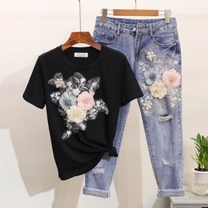 Summer Embroidery 3D Flower Short Sleeved Tshirt+Heavy Work Jean Rippered Hole Denim Pants Suit Women 2 Piece Set Y200701