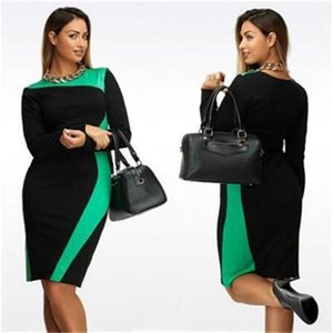 Giyim Kadın Yaz Tasarımcı Artı boyutu Elbise Mürettebat Yaka Uzun Kollu Bayan Giyim Seksi Stil Gündelik