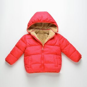 Autumn & Winter New Style Men And Women Children Solid Color Hooded Cotton-padded Clothes Children Berber Fleece plus Thick Velv