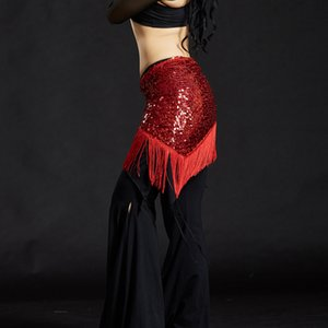 Womens Belly Dance Hip Scarf Tribal Triangle Tassel Sequins Hip Scarves Skirt Belly Dancing Costumes