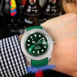نسخة عالية 116610LV-97200 تاريخ الأخضر الهاتفي حركة فضة الماس الحافة التلقائية الميكانيكية الرجال ووتش الشريط المطاط Luxry ساعات رياضية