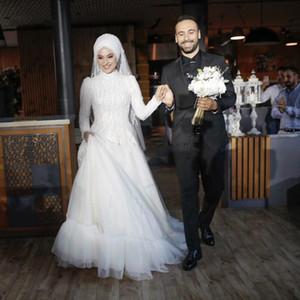 Perlas de lentejuelas con encanto Granos blancos musulmanes vestidos de novia de manga larga de la joya de barrido tren Volantes Jardín capilla vestidos de novia vestidos de novi