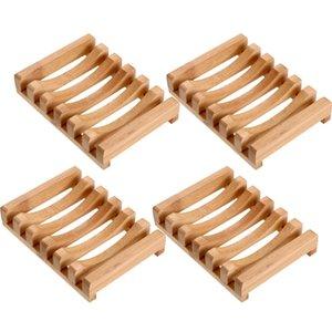 4 Pieces Wooden Soap Case Holder Natural Rectangular Wood Soap Dish Holder For Kitchen Bathroom Sponge Scrubber Soap