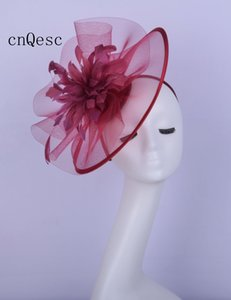 2019 wine Ladies formal dress hat crin fascinator Kentucky Derby wedding races bridal shower mother of the bride w feather flower
